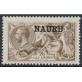 NAURU - 1916 2/6 brown Seahorses (De La Rue printing) o/p NAURU, MH – SG # 21
