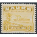 NAURU - 1937 10/- yellow Freighter on shiny paper, MNH – SG # 39B