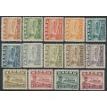 NAURU - 1924 ½d to 5/- Freighter short set on rough paper, MH – SG # 26A-38A + 30Ac