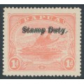 PAPUA / BNG - 1912 1d rose-pink Lakatoi, double STAMP DUTY overprint, MH – SG # F1b